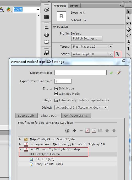 在Flash CS6中导入外部swc
