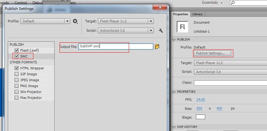 在Flash CS6中设置导出swc